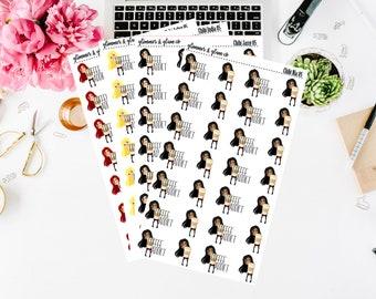 Chibi Girls - Coffee Addict Planner stickers