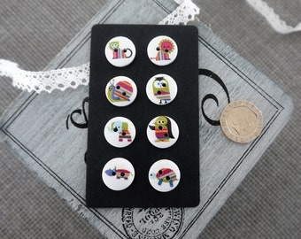 10 x  Small White Wooden Button With Cute Mutil Coloured Strip Design Animal Print