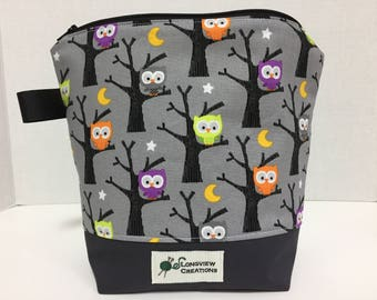 Wedge Bag, Knitting Project Bag, Sock Size, Make-up Bag, Owls