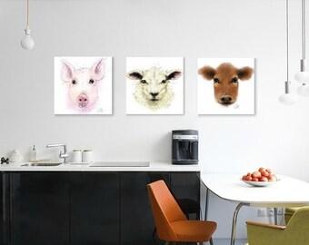 Pig painting // A3 pig print // piglet painting // piglet drawing // pig nursery decor // piglet nursery // farm animal nursery