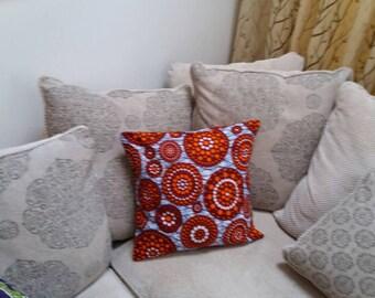 "18""x18""  red circles african wax print cushion cover. throw cushions. kids interiors. nursery room cushions. bedroom interiors."