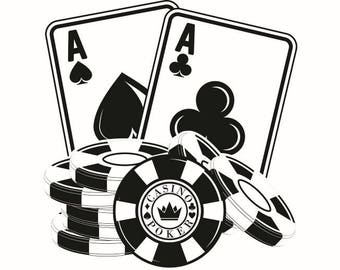 Poker Logo #1 Chip Ace Texas Hold'em Gambling Casino Bet Betting Poker Blackjack Games Logo .SVG .EPS .PNG Clipart Vector Cut Cutting File