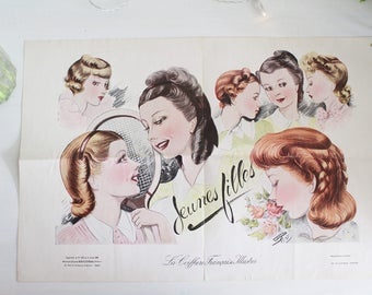 RESERVED FOR ROSIE - Vintage French Fashion Print - 1938 - Vintage Hairstyles