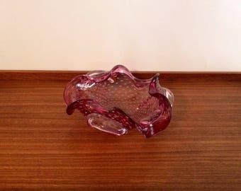 Murano Pink Bubble Glass Dish, Made in Italy