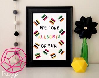 Licorice Allsorts Art - kids art, nursery decor, hand cut, licorice, lollies, kids room art, modern kitchen art, funky art, funky print