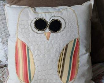 Scrappy little country owl pillow, owl pillow, owl decor, owls, country owl, barn owl, owl gift