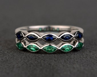 wedding bands women sapphire band stacking ring emerald band wedding bands women sterling silver marquise cut