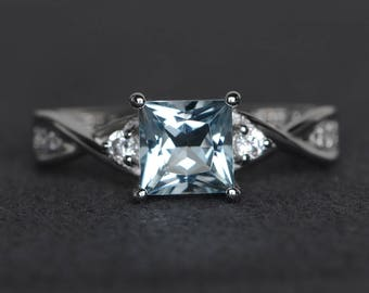 princess cut aquamarine engagement ring sterling silver ring March birthstone ring