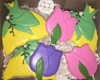 Green and Yellow Princess Tiana Dress Flower Brithday Cookie Favors - 1 Dozen (12 Cookies)