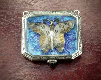 Steampunk Flutterby Vintage Watch Upcycle Pendant