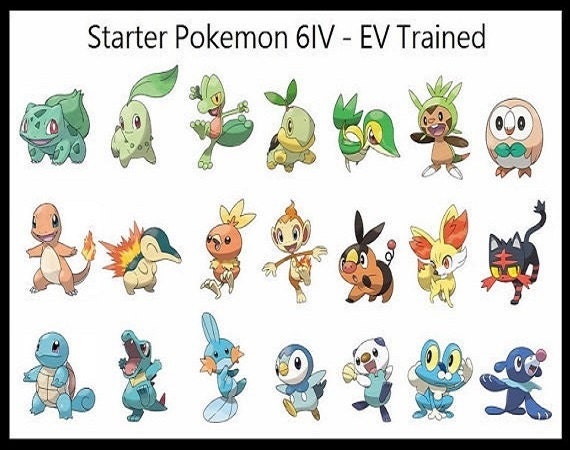 All 21 Shiny Starter Pokemon 6IV Pokemon Sun and Moon