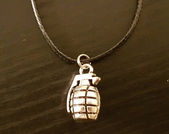 Hand Grenade on Black Wax Cord Necklace