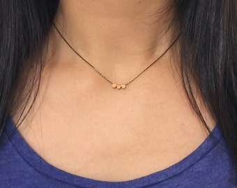 Tiny rose gold hearts necklace with gunmetal chain