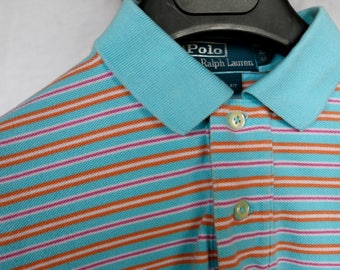 RALPH LAUREN polo, custom fit blue, white, red, orange striped polo shirt (small) 100% cotton