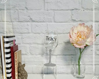 Glitter Dipped Accented Wine Glass// Personalized Initial Name Custom// Unique Gift Sparkle Bling// Wine Glass Cup// Monogram Letter