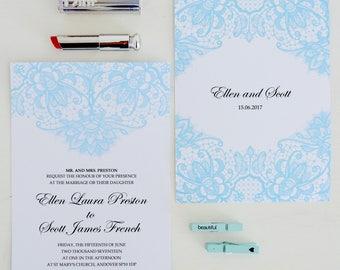 Lace Wedding Invitations printed, Lace Invitations, Rustic Wedding Invitation design, Classic wedding stationery, Custom Wedding Invites, UK