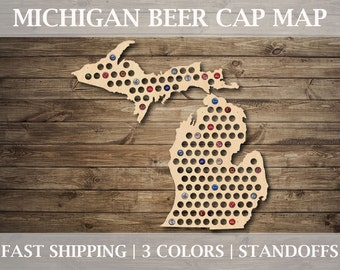Michigan Beer Cap Map | With Standoffs | State Beer Cap Map | Bottle Cap Map | Gifts For Him | All States Available