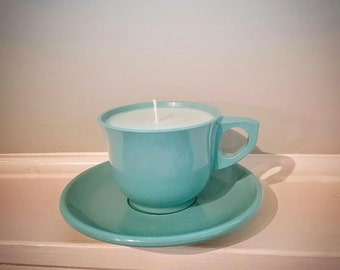 Art Deco Sunwashed Linen 100 % Soy Teacup Candle