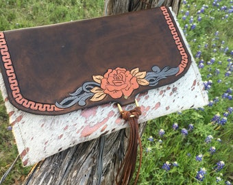 Texas Rose Cowhide Clutch