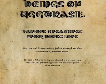 """1st. Edition Norse Mythology, Illustrated Art Book: """"Beings of Yggdrasil, Various Creatures from Norse Lore"""""""
