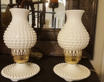 ON SALE, Pair of Lamps, Fenton Glass Lamps, Milk Glass Lamps, Boudoir Lamps, Fenton Lamps, Fenton Glass, White Lamps, Shabby Chic Lamps,