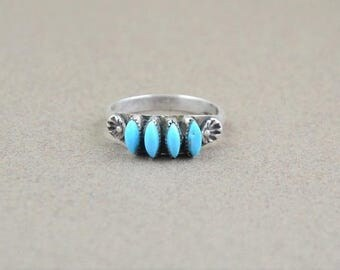 Ring Native American Zuni Silver set with turquoise, size 55, woman