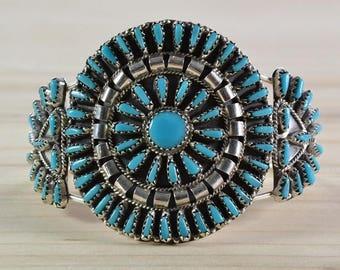 Navajo cluster,woman bracelet,cuff,silver bracelet,turquoise bracelet,petit point
