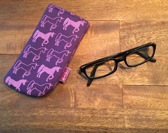 Purple /Pink Screen Printed Unicorn Eyeglass Case