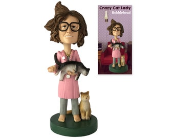The Crazy Cat Lady Collectible Bobblehead Figure