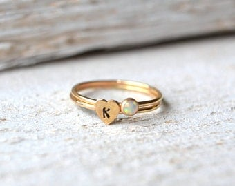 Gold Opal Ring. Opal Ring Gold, Small Gemstone Ring, Tiny Opal Ring, Heart Ring Gold, Stacking Ring, Personalized Ring, Stacking Ring Gold