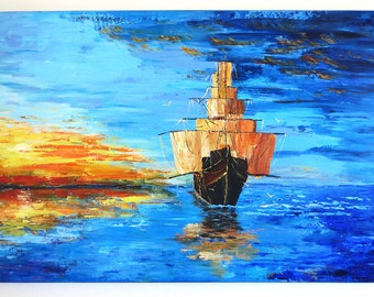 Original painting Modern Art Ship Painting Sunset Painting Blue Abstract painting Sea Landscape painting Wall decor Fine art Sunset Yacht