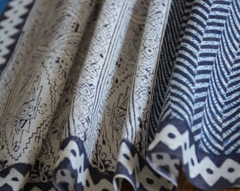 Khadi scarf -hand block printed , hand-spun and hand woven Khadi scarf , khadi muslin stole , hand block printed stole .