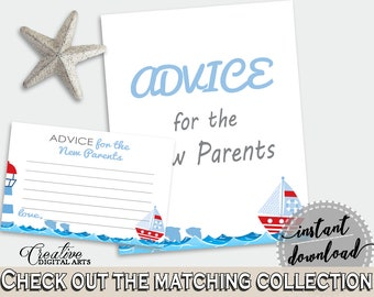 Advice Cards Baby Shower Advice Cards Nautical Baby Shower Advice Cards Baby Shower Nautical Advice Cards Blue Red party décor DHTQT