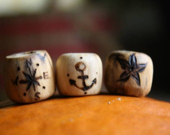 3 Wooden Handmade Beard Beads Compass Anchor Star Viking Nordic Germanic