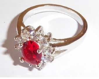Lovely silver metal Ring with Red stone and Rhinestones