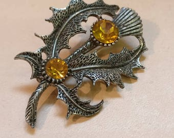Vintage Thistle Brooch with inset stones
