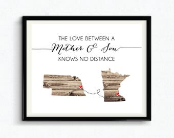 The Love Between A Mother & Son Knows No Distance Custom Print, Mothers Day, Personalized Gift For Mom, Custom Location - (D173)