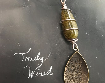 wrapped stone necklace