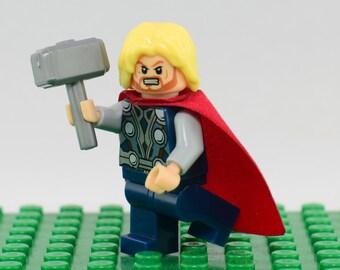 Thor Custom minifigure (Lego Compatible) Marvel Comic Superhero Thor Odinson The Dark World Avengers Age of Ultron Asgard God Christmas Gift