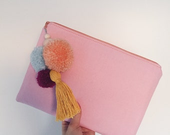 iPad bag / case made of canvas with PomPoms - pink & peach
