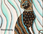 Cat painting - abstract - blue black gold cat - on 8x10 inch canvas
