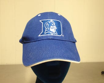 Vintage 90's Duke University Blue Devils Velcro Strap Back Dad Hat NCAA College Basketball Minimal