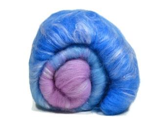 Carded Spinning Batt, Spinning Fiber, Merino, Bamboo, Angelina - Hyacinth - 4 oz.