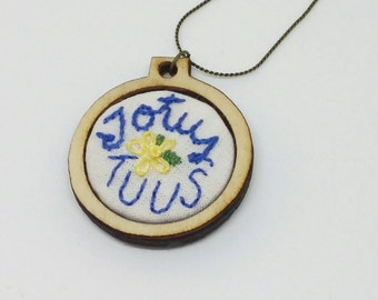 "Totus Tuus Embroidery Hoop Necklace - 1"" - Catholic/Christian"