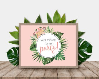 Little Monkey Girl Printable Welcome Sign