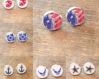 Military Earrings- Military Accessories- Military Girlfriend- Military Wife- Military Spouse Gift