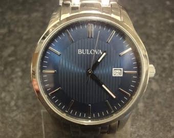 Vintage Bulova Dress Silver-Tone Stainless St. Steel Men's Luxury Watch 96B222