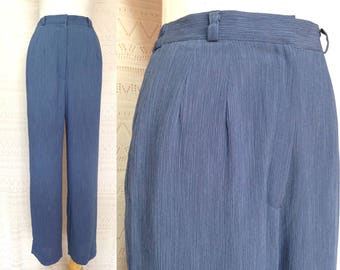 "vintage trousers XS / S ""Chelsie"" high waisted trousers, vintage pants, blue trousers, straight leg trousers, us size 4 6, 90s clothing"