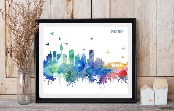 Sydney print Travel art Sydney skyline Home office decor