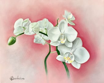 """Original painting of an orchid 8 x 10"""" oil on gallery wrapped canvas."""